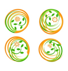 set of a green icons vector image vector image
