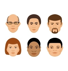 set of human faces different age and ethnicity vector image