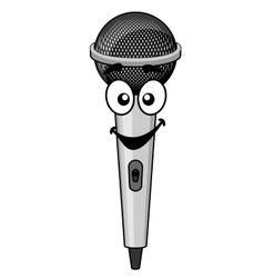 Smiling cartoon microphone vector image vector image