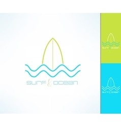 surfing company label logo made in modern vector image vector image