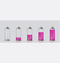 Transparent aerosol spray can with different paint vector
