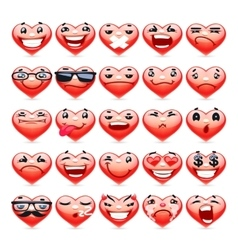 Valentine Heart Emoticons Collection vector image vector image