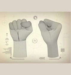 wireframe fist vector image vector image