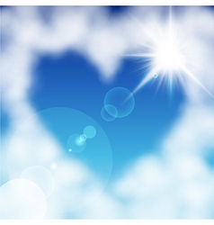 cloud heart sun vector image vector image