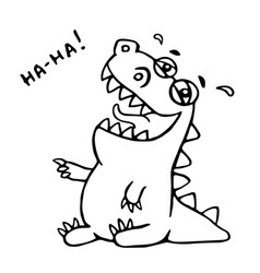 laughing dinosaur vector image