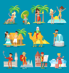 traveling people set vector image vector image
