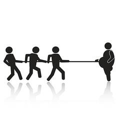 tug-of-war businessmen stick figures vector image