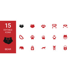 15 bear icons vector image