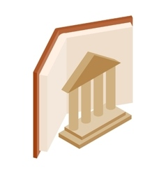 Ancient columns and book icon vector image