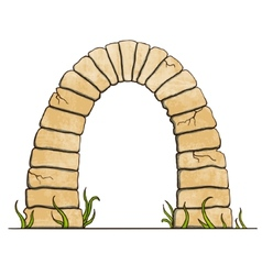 Ancient stone brick arc on white background vector image