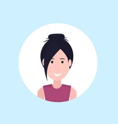 Asian woman face happy lady portrait on blue vector