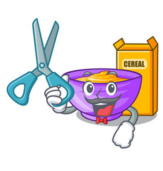 Barber cereal box in a cartoon bowl vector