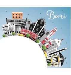 Bari italy city skyline with gray buildings blue vector