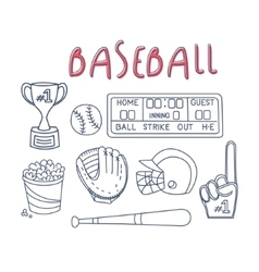Baseball Related Object And Equipment Set vector image