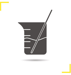 Beaker with glass rod and liquid icon vector