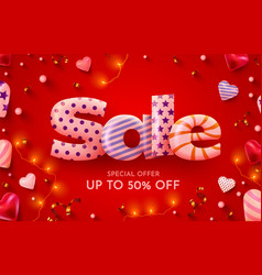 Big sale banner or poster design on bright red vector