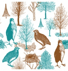birds in the forest background vector image vector image