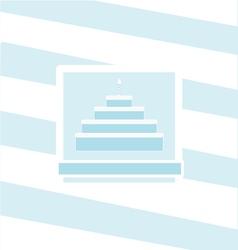 Birthday cake blue invitation vector