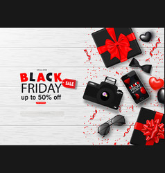 Black friday sale background with bowtie vector