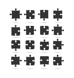 black piece puzzle jigsaw object vector image