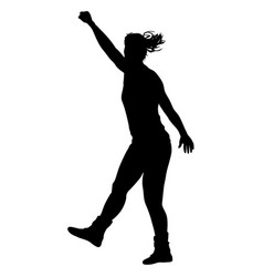 Black silhouettes of beautiful woman with arm vector