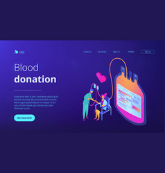blood donation isometric 3d landing page vector image