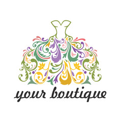 Boutique bridal dress floral vibrant logo vector