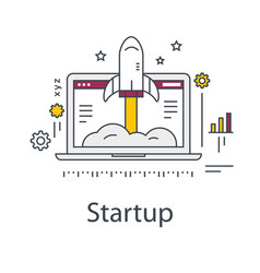 business startup rocket and laptop vector image
