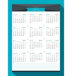 Calendar for 2016 Year Design Print Template Week vector image