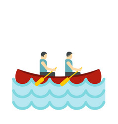 Canoe with two athletes icon flat style vector