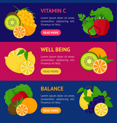 Cartoon food with vitamin c banner horizontal set vector