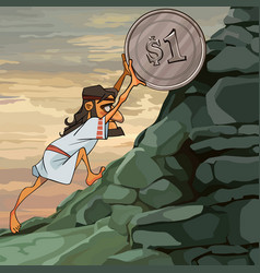 Cartoon male sisyphus rolls a coin up the hill vector