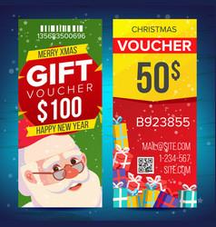 christmas voucher template vertical card vector image