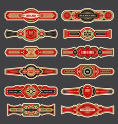 cigar labels colorful vintage banded badges for vector image
