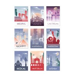 city cards set landscape template flyer vector image