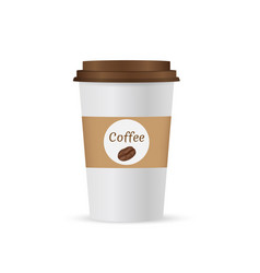 Close up take-out coffee with brown cap and cup vector