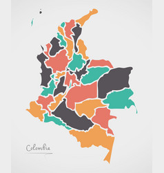 Colombia map with states and modern round shapes vector