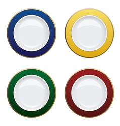 Colorful plate with gold rims on white background vector image