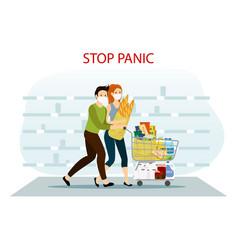 Coronavirus shopping panic vector
