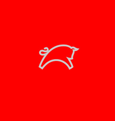 creative linear geometric bull logo for business vector image