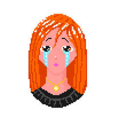 crying anime girl pixel art 8 bit object fashion vector image