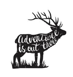 Deer silhouette and hand-drawn lettering vector