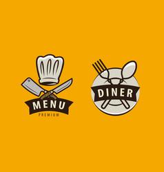 diner cooking logo or label menu design for cafe vector image
