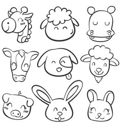 doodle set animal head style vector image
