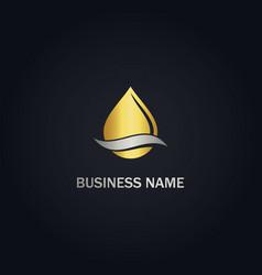 Droplet water gold logo vector
