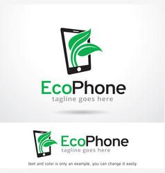 Eco phone logo template vector