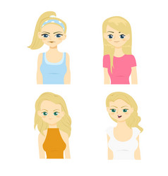 fashion and hairstyle of caucasian women vector image