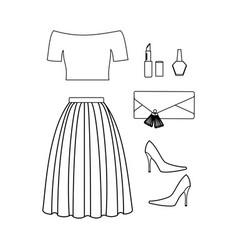fashion look coloring page vector image