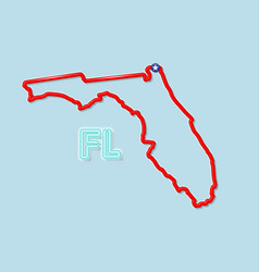 Florida us state bold outline map vector