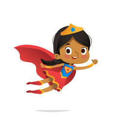 flying african-american girl wearing colorful vector image